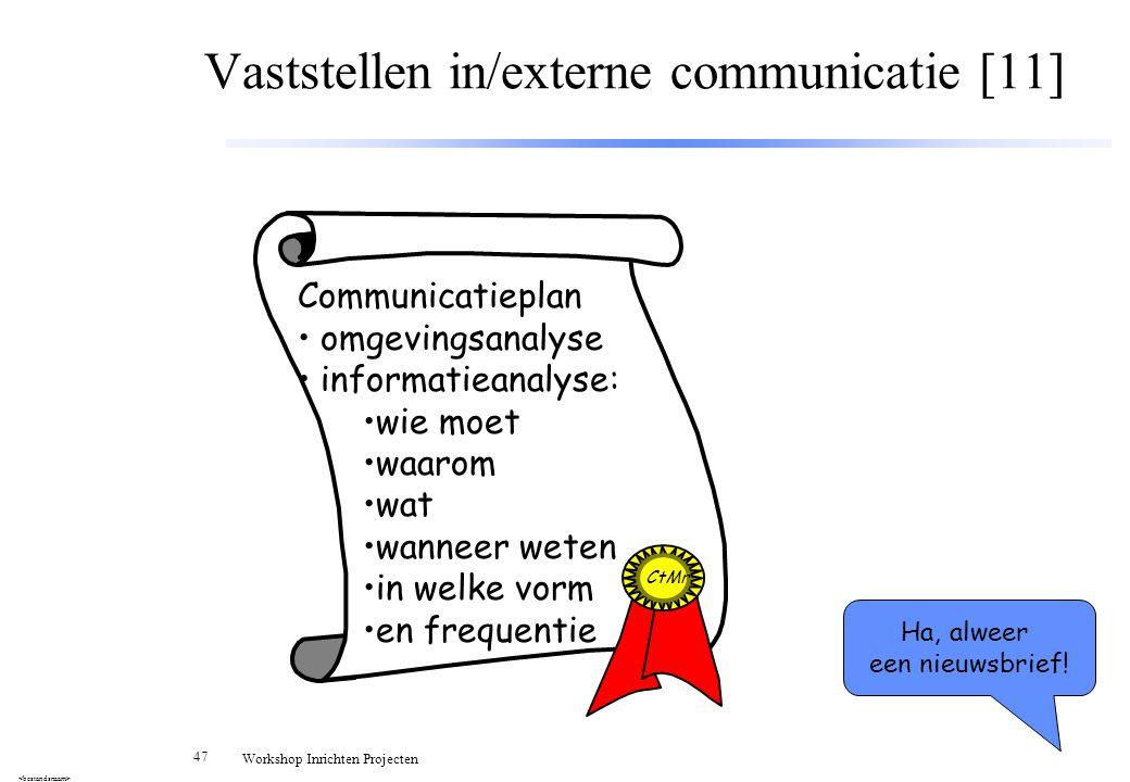 Vaststellen in/externe communicatie [11]